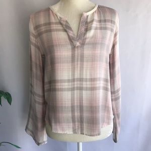 Anthro Cloth & Stone Popover Plaid Pink Gray XS
